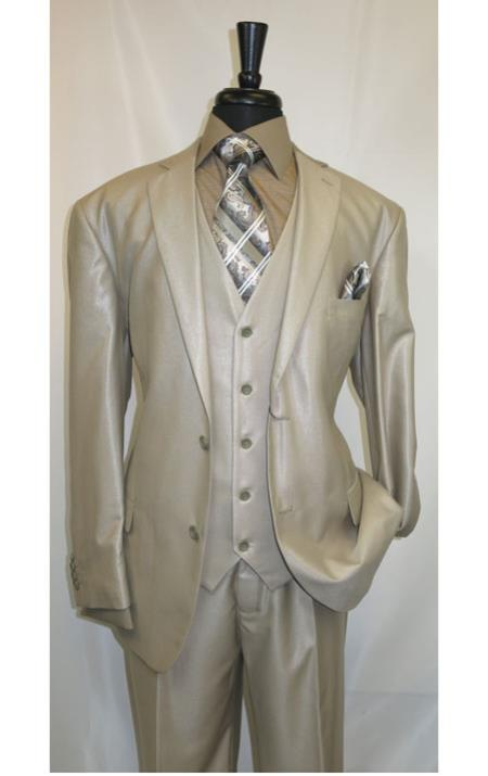 MK504 Shiny Shark skin Flashy Satin Looking Metallic looking Vested 3 Piece Beige Suit