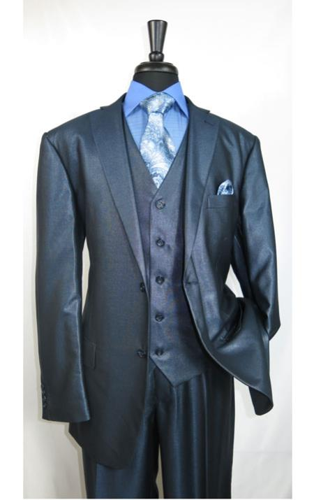 MK503 Shiny Shark skin Flashy Satin Looking Metallic looking Vested 3 Piece Blue Suit