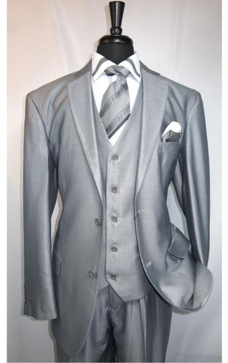 MK506 Shiny Shark skin Flashy Satin Looking Metallic looking Vested 3 Piece Grey Suit