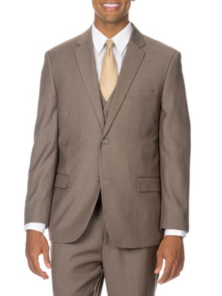 RA04 Italy Pinstripe Vested Suit Tan