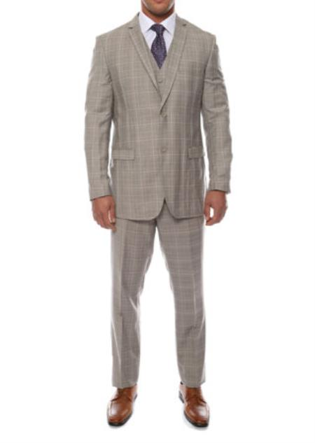 JSM-1530 Lazio 3 Piece Vested Window Pane Taupe Grey Slim Fit Plaid Suit