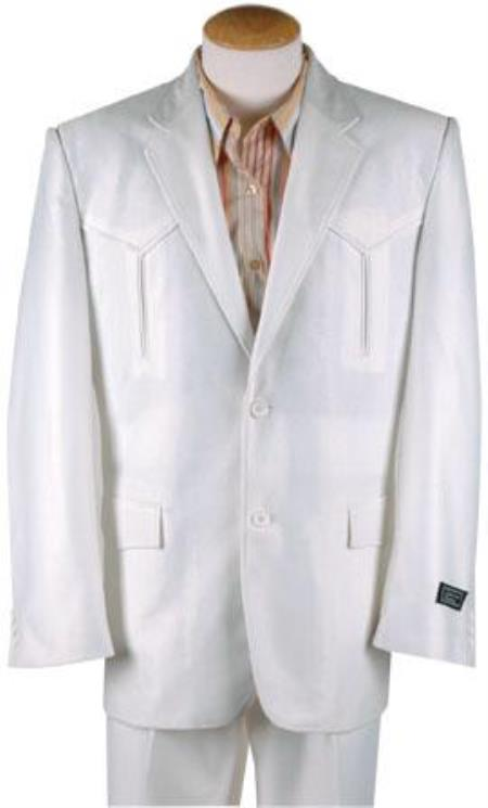 AA390 Polyester Western Suit White