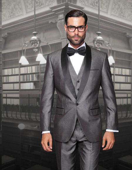 AC-297 One Button Classic Three Piece Sharkskin Suit With Solid Liquid Jet Black Satin Shawl Collar Gray