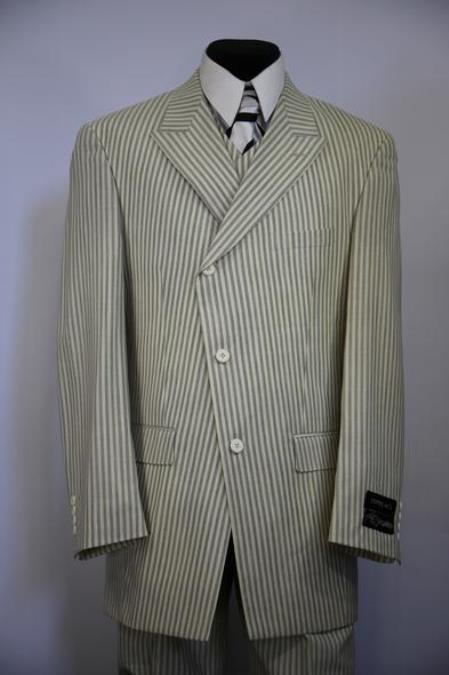 JA157 Mens Victorian Stripes Side Button Single Breasted Flap Pocket Sage Zoot Suit