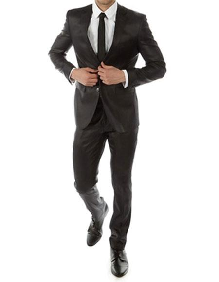 GD1230 Men's Shiny Black Slim Fit 2 Button Notch Lapel Suit