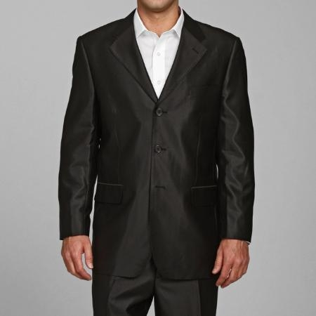 SH22 Shiny Liquid Jet Black 3 Buttons Style Suit