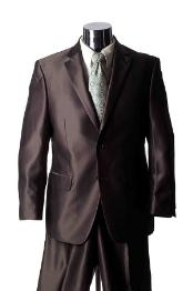 GY3478 Shiny 2 Button Style brown color shade Sharkskin Suit