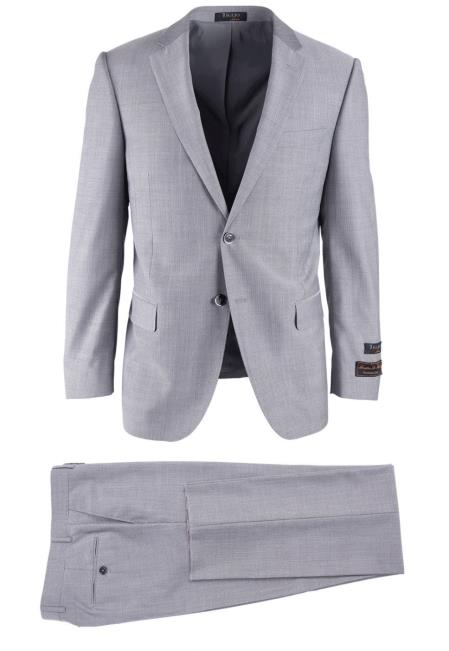 SM4744 Men's Wool Light Gray Herringbone Novello Modern Fit Luxe Suit With Flat Front Pant
