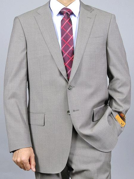SM4911 Authentic Enzo tovare Men's Slim Fit Notch Lapel Taupe 2 Button Double Vent Wool Suit