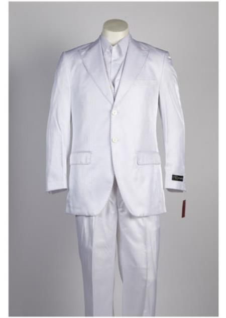 JSM-327 Men's White 2 Piece Single Breasted Suit