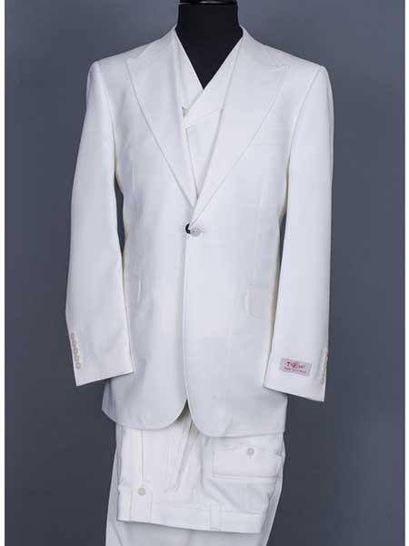 Button Style Suit Off White 100% Wool Fabric Full Cut Double Breasted Vest Clearance Sale Online