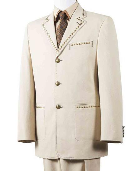JSM-418 Men's 2 Piece Taupe Cotton Diamond Nail Head Denim Wide Notch Lapel Suit