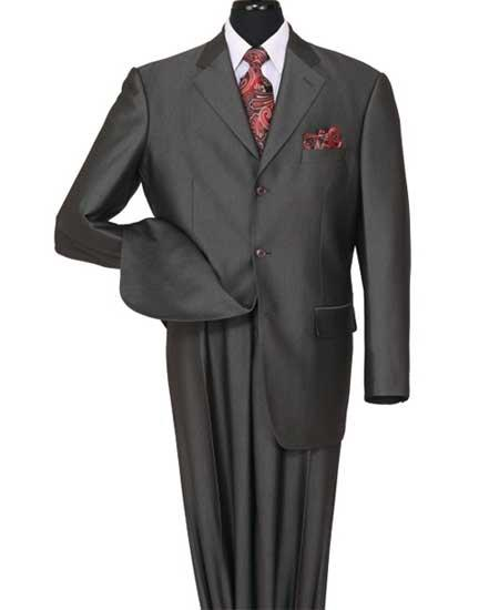 JSM-573 Men's 3 Button Black Notch Lapel Shiny Sharkskin Side Vent Suit