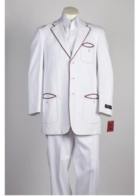 JSM-113 3 Button Single Breasted White Red Suit