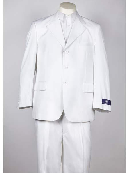 SM1011 Three Button Notch Lapel White Single Breasted Classic Fit Suit