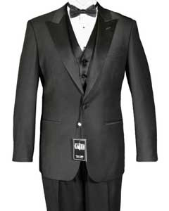 KA6638 1-Button Peak 1920s tuxedo style Liquid Jet Black