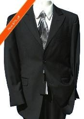 JB7922 2-Button Peak Lapel Jet Liquid Jet Black Suit