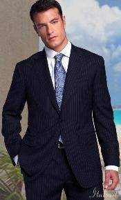 BER_TZ25 2pc 2 Btn Navy Pinstripe Suit Classic Relax