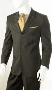 KA5287 2 Piece Classic Suit - Pinstripe brown color