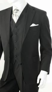 KA4787 3 Piece Classic Suit Liquid Jet Black