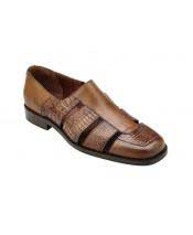 GD1758 Mens Slip On Genuine Alligator~Italian Calf Antique Almond