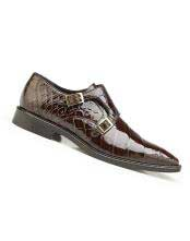 SM4980 Mens Genuine Alligator Leather Lining Chocolate Double Buckle