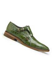 SM4986 Mens Genuine Alligator Pistachio Leather Lining Double Buckle