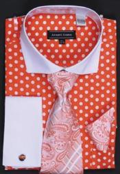 Orange Polka Dot Dress Shirt