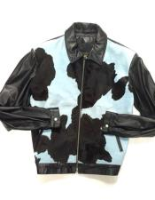 AP681 Baby Blue/Black Quilted Pony Hair Zipper Closure Bomber