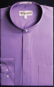 AC-476 Banded Collar Dress Fashion Shirt With Button Cuff