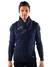 CH1930 Mens barabas curse gold leaf blue ribbed sweater