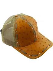 JSM-732 Genuine Beige Baseball Cap Ostrich Alligator Exotic Skin