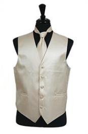 VS2022 Horizontal Rib Pattern Vest Tie Set Beige