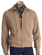 JSM-5448 Mens Chenille Short jacket with knit trim Beige
