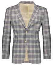 Beige/Gray Slim Fit Plaid ~