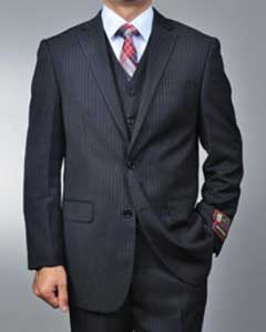 RR5698 Liquid Jet Black Pinstripe 2-button Vested three piece