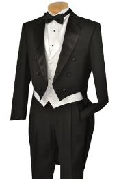 KA1401 Liquid Jet Black Full Dress TailCoat Notch Collar
