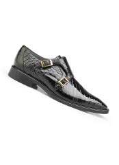 MensBlackGenuineAlligatorLeatherLiningDoubleBuckleShoes