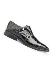 Mens Black Genuine Alligator Leather
