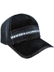 Ostrich Alligator Exotic Skin Black Baseball Cap