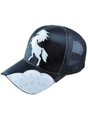 JSM-721 Genuine Ostrich Alligator Exotic Skin Black Baseball Cap