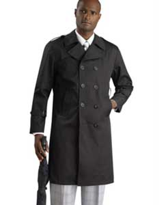 KA1232 Stylish Liquid Jet Black Rain double breasted Coat