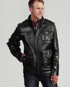 AC-199 Liquid Jet Black Buffalo Leather Jacket Available in