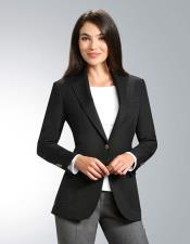 JSM-4957 Women's Two Button 100% Polyester Single breasted Black