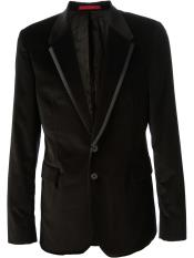 KR7839 Liquid Jet Black Cotton Velvet Blazer Online Sale