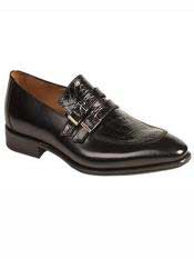 MO551 Mezlan Brand Black Genuine Crocodile / Calfskin Double