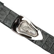 KJ8438 Liquid Jet Black Genuine Crocodile ~ Alligator skin