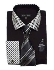 JSM-1451 Mens Fashionable Solid/Polka Dot Pattern Black Dress Shirt