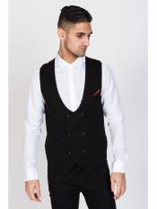 MO467 KELLY - Black Double Breasted Waistcoat