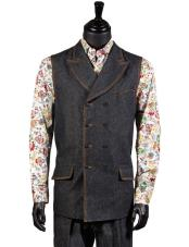 JSM-4908 Mens Black Denim Mens 2 Pc Double-Breasted Vest